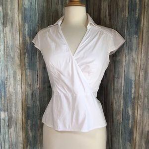 Loft wrap style sleeveless career top w/ side zip
